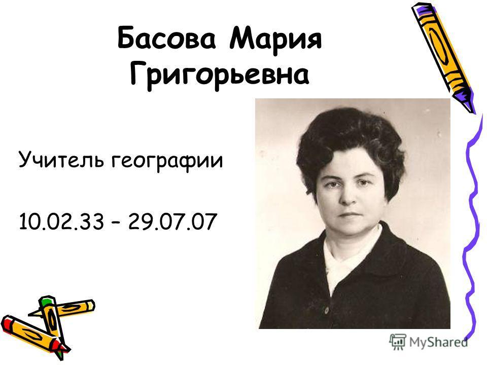 Басова Мария Григорьевна Учитель географии 10.02.33 – 29.07.07