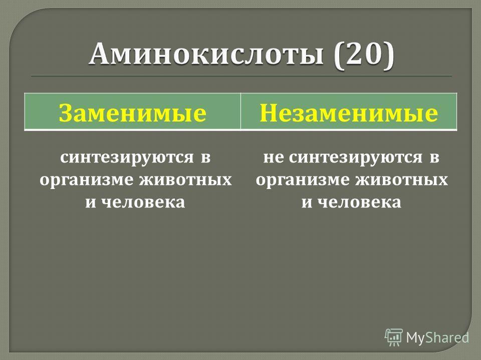 ЗаменимыеНезаменимые синтезируются в организме животных и человека не синтезируются в организме животных и человека
