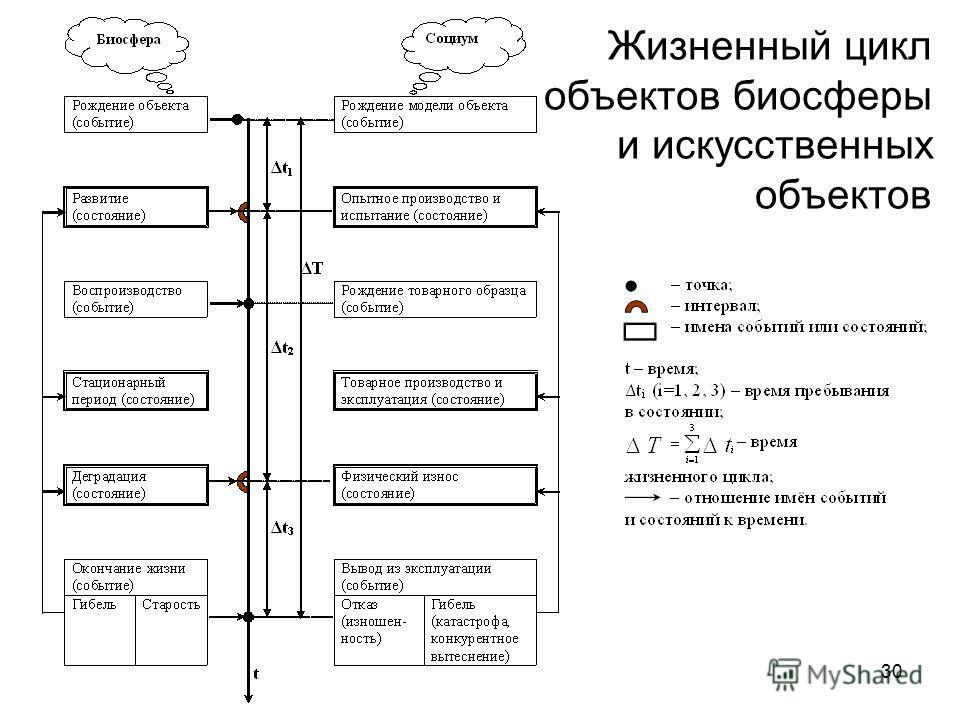 Жизненный цикл объектов биосферы и искусственных объектов 30