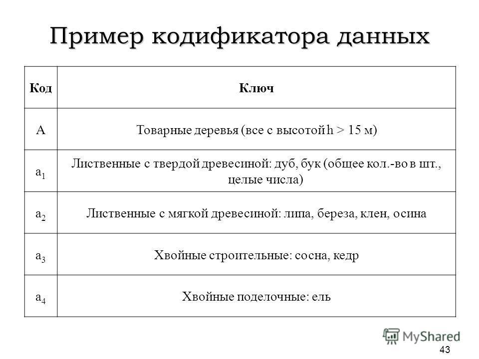 Пример кодификатора данных КодКлюч AТоварные деревья (все с высотой h > 15 м) a1a1 Лиственные с твердой древесиной: дуб, бук (общее кол.-во в шт., целые числа) a2a2 Лиственные с мягкой древесиной: липа, береза, клен, осина a3a3 Хвойные строительные:
