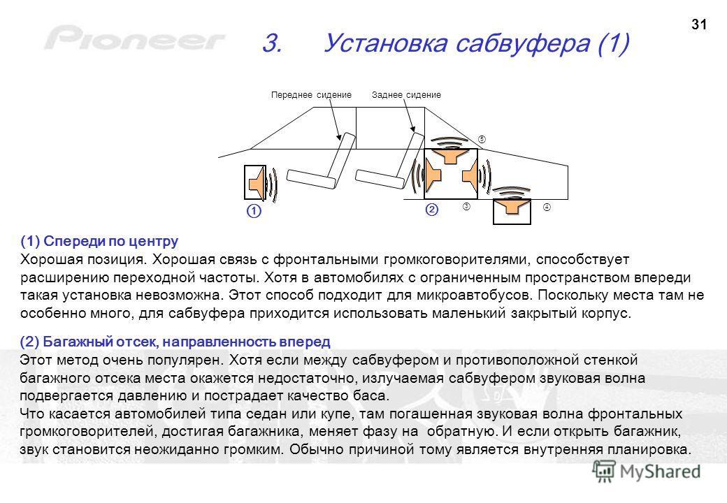31 3.Установка сабвуфера (1) (1) Спереди по центру Хорошая позиция. Хорошая связь с фронтальными громкоговорителями, способствует расширению переходной частоты. Хотя в автомобилях с ограниченным пространством впереди такая установка невозможна. Этот