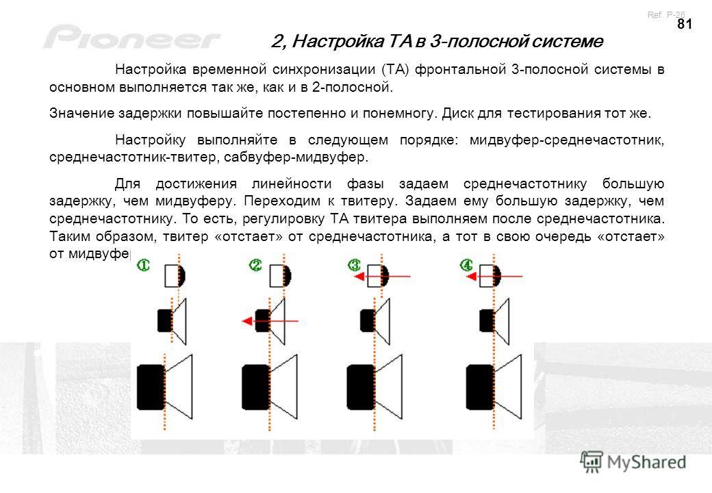 81 2, Настройка ТА в 3-полосной системе Настройка временной синхронизации (TA) фронтальной 3-полосной системы в основном выполняется так же, как и в 2-полосной. Значение задержки повышайте постепенно и понемногу. Диск для тестирования тот же. Настрой