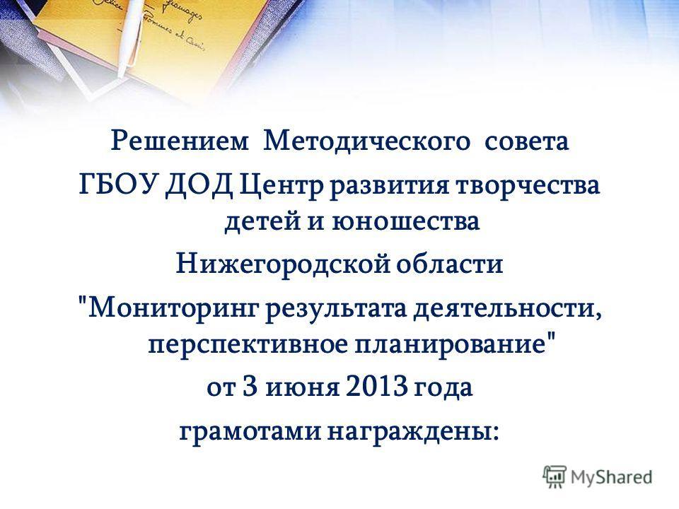 Решением Методического совета ГБОУ ДОД Центр развития творчества детей и юношества Нижегородской области Мониторинг результата деятельности, перспективное планирование от 3 июня 2013 года грамотами награждены: