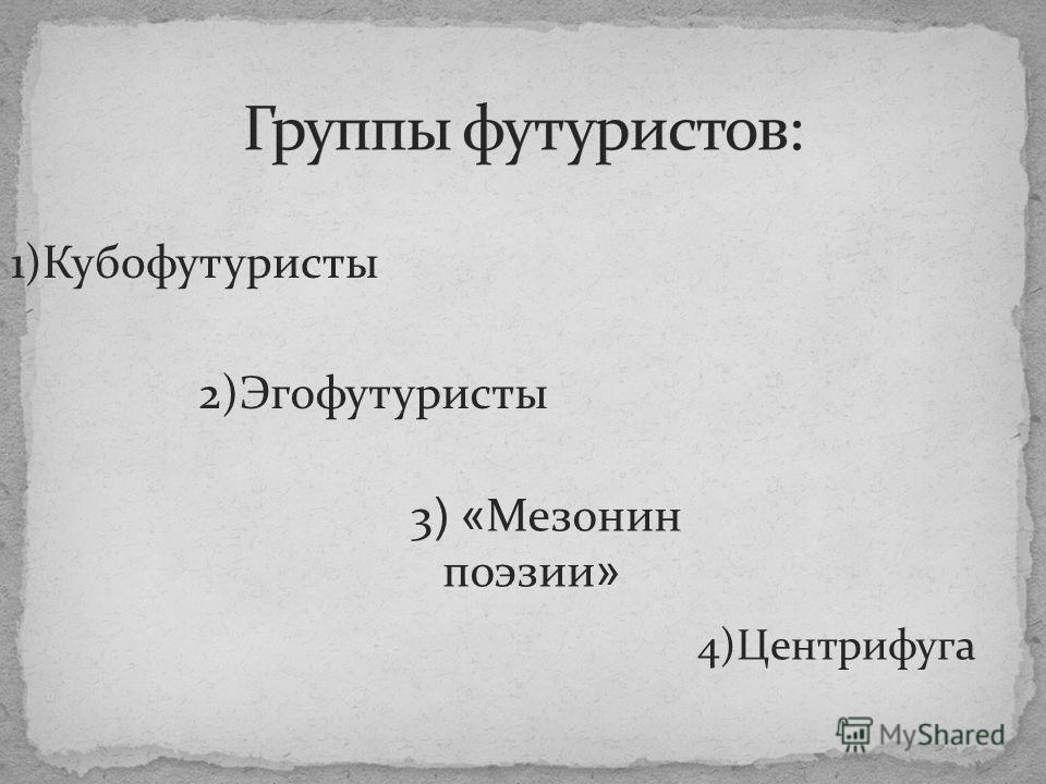 1)Кубофутуристы 2)Эгофутуристы 3 ) « Мезонин поэзии » 4)Центрифуга