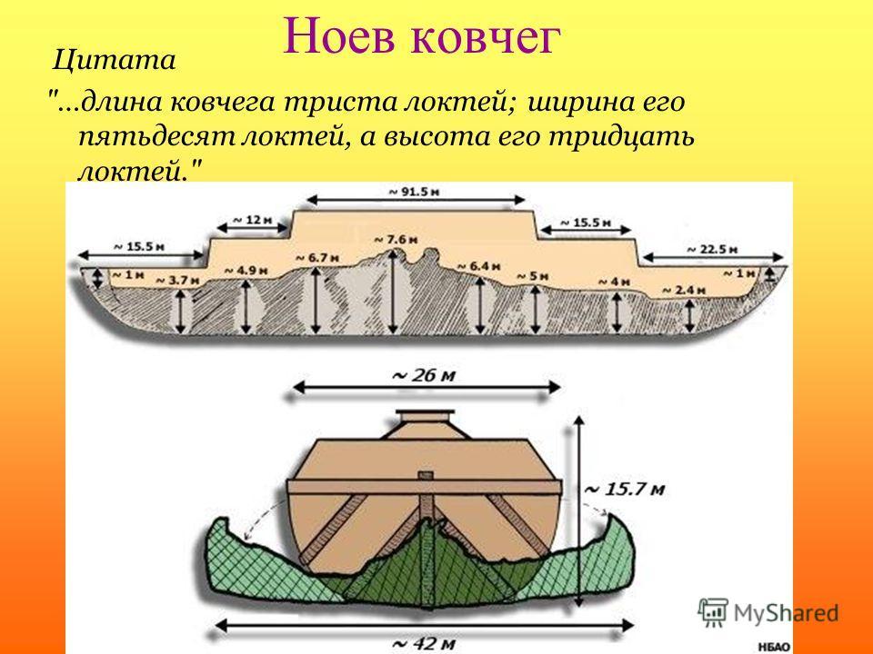Ноев ковчег Цитата …длина ковчега триста локтей; ширина его пятьдесят локтей, а высота его тридцать локтей.