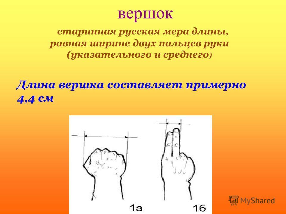 вершок старинная русская мера длины, равная ширине двух пальцев руки (указательного и среднего ) Длина вершка составляет примерно 4,4 см