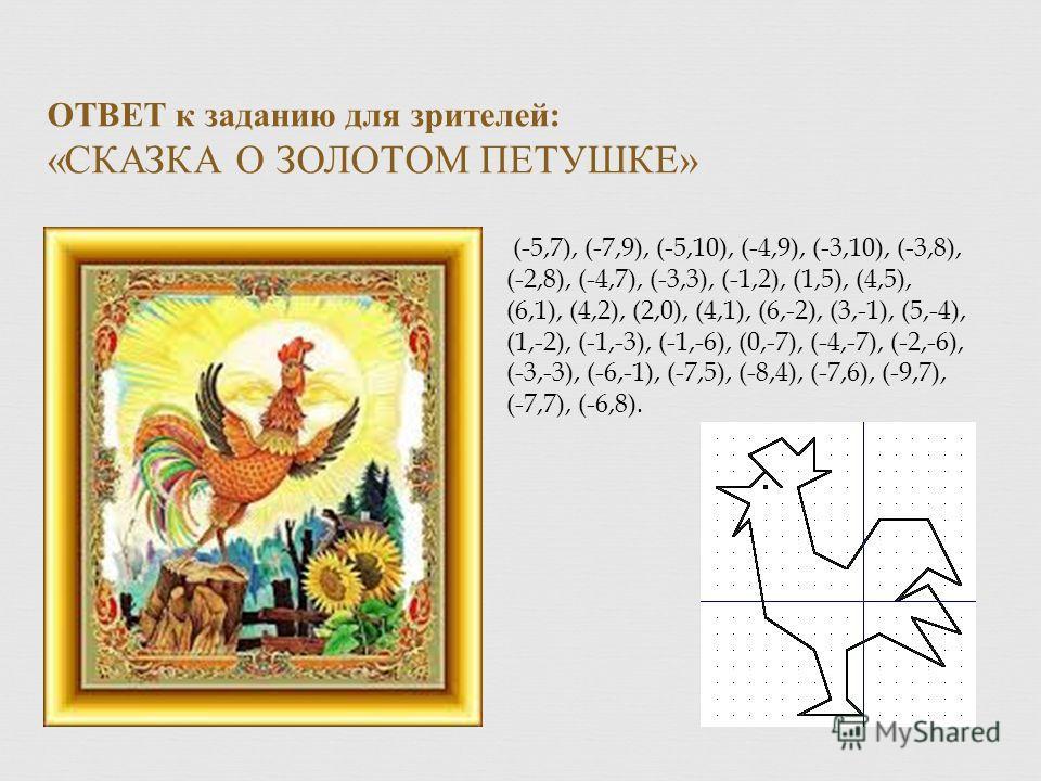 ОТВЕТ к заданию для зрителей : « СКАЗКА О ЗОЛОТОМ ПЕТУШКЕ » (-5,7), (-7,9), (-5,10), (-4,9), (-3,10), (-3,8), (-2,8), (-4,7), (-3,3), (-1,2), (1,5), (4,5), (6,1), (4,2), (2,0), (4,1), (6,-2), (3,-1), (5,-4), (1,-2), (-1,-3), (-1,-6), (0,-7), (-4,-7),