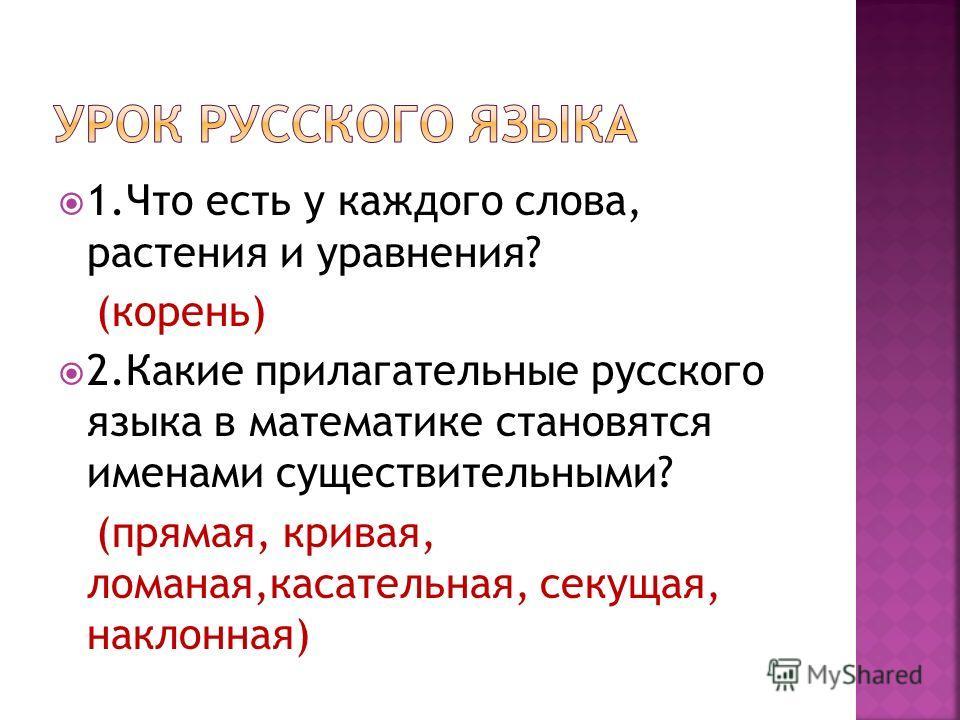 1.Что есть у каждого слова, растения и уравнения? (корень) 2.Какие прилагательные русского языка в математике становятся именами существительными? (прямая, кривая, ломаная,касательная, секущая, наклонная)