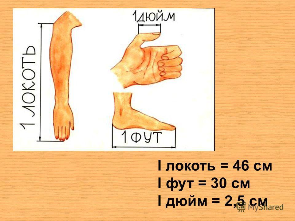 I локоть = 46 см I фут = 30 см I дюйм = 2,5 см