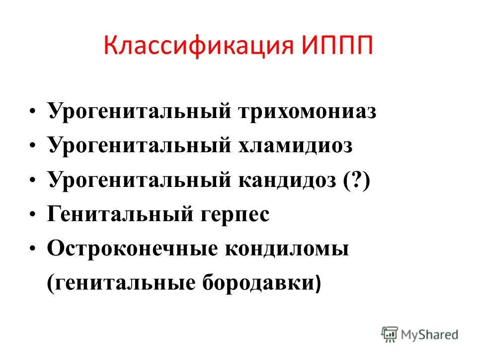 Классификация ИППП Урогенитальный трихомониаз Урогенитальный хламидиоз Урогенитальный кандидоз (?) Генитальный герпес Остроконечные кондиломы (генитальные бородавки )
