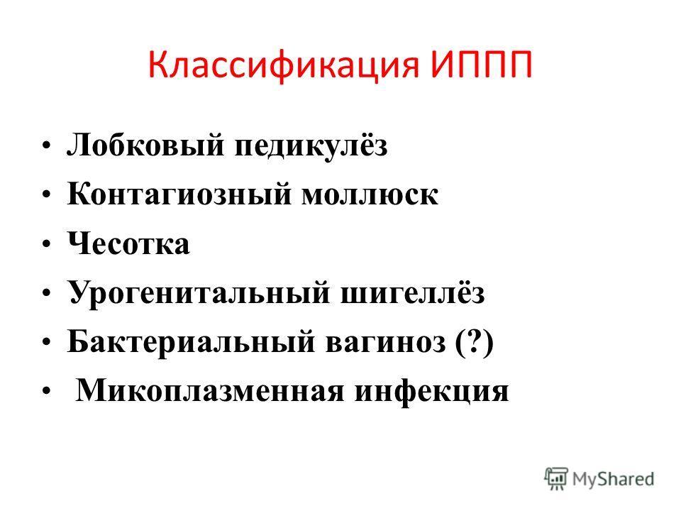 Классификация ИППП Лобковый педикулёз Контагиозный моллюск Чесотка Урогенитальный шигеллёз Бактериальный вагиноз (?) Микоплазменная инфекция