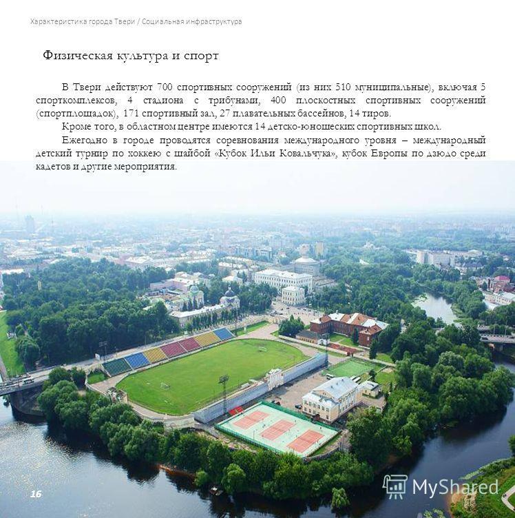16 Характеристика города Твери / Социальная инфраструктура Физическая культура и спорт В Твери действуют 700 спортивных сооружений (из них 510 муниципальные), включая 5 спорткомплексов, 4 стадиона с трибунами, 400 плоскостных спортивных сооружений (с