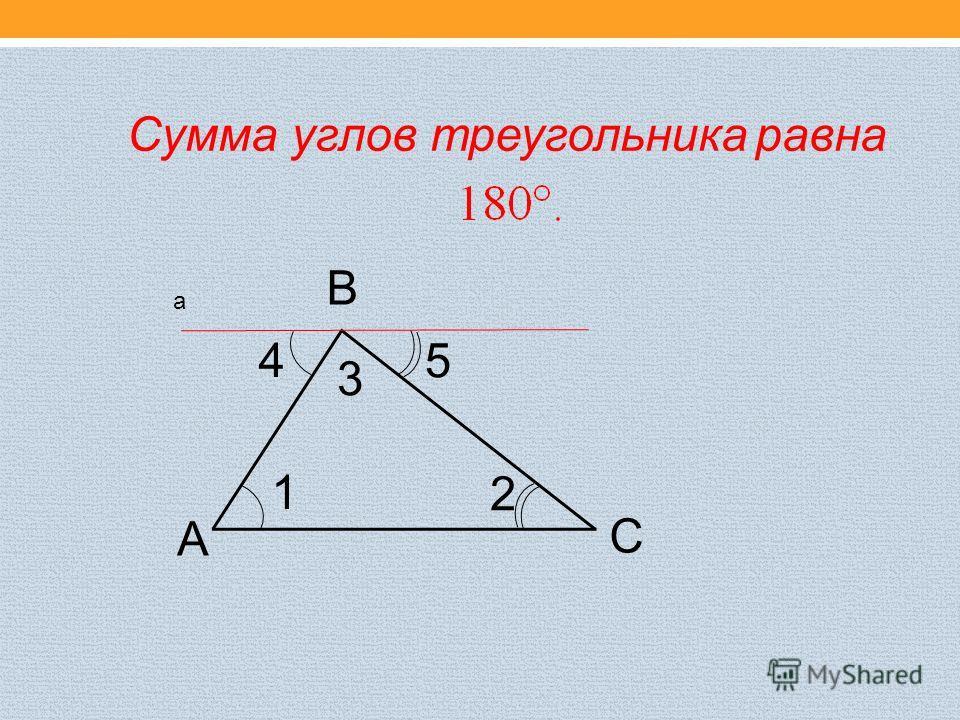 Сумма углов треугольника равна А В С 1 4 2 5 3 а