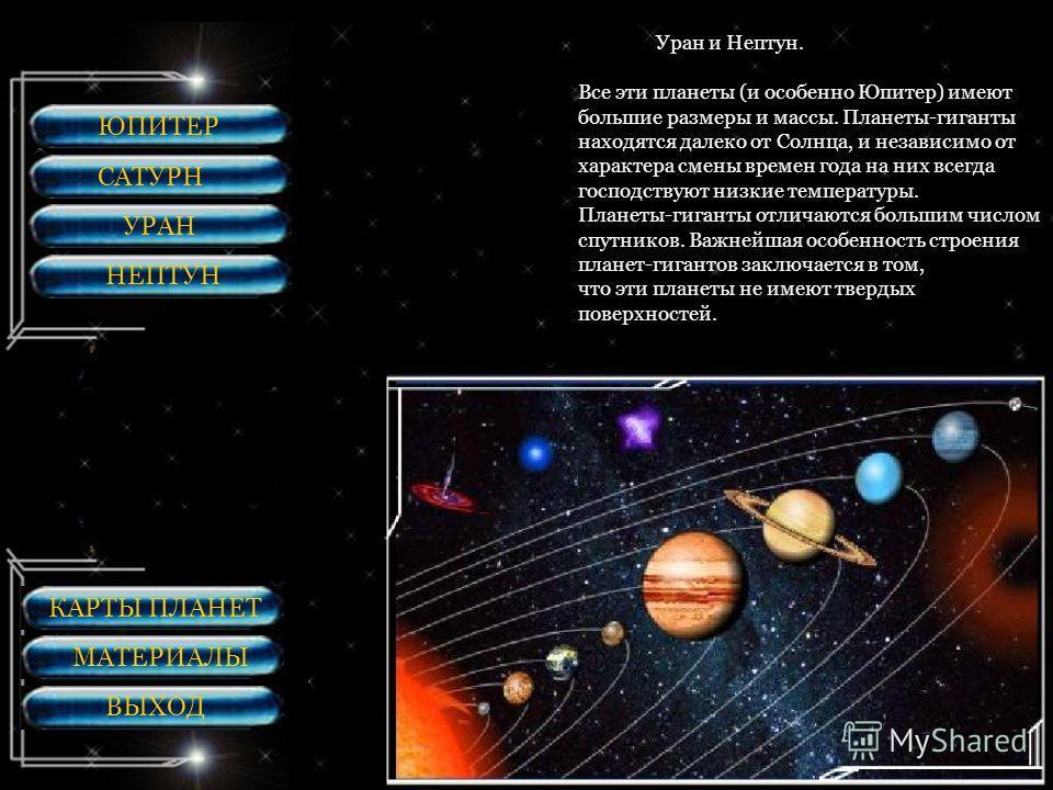 ЮПИТЕР САТУРН УРАН НЕПТУН В группу планет гигантов входят: Юпитер, Сатурн, Уран и Нептун. Все эти планеты (и особенно Юпитер) имеют большие размеры и массы. Планеты-гиганты находятся далеко от Солнца, и независимо от характера смены времен года на ни