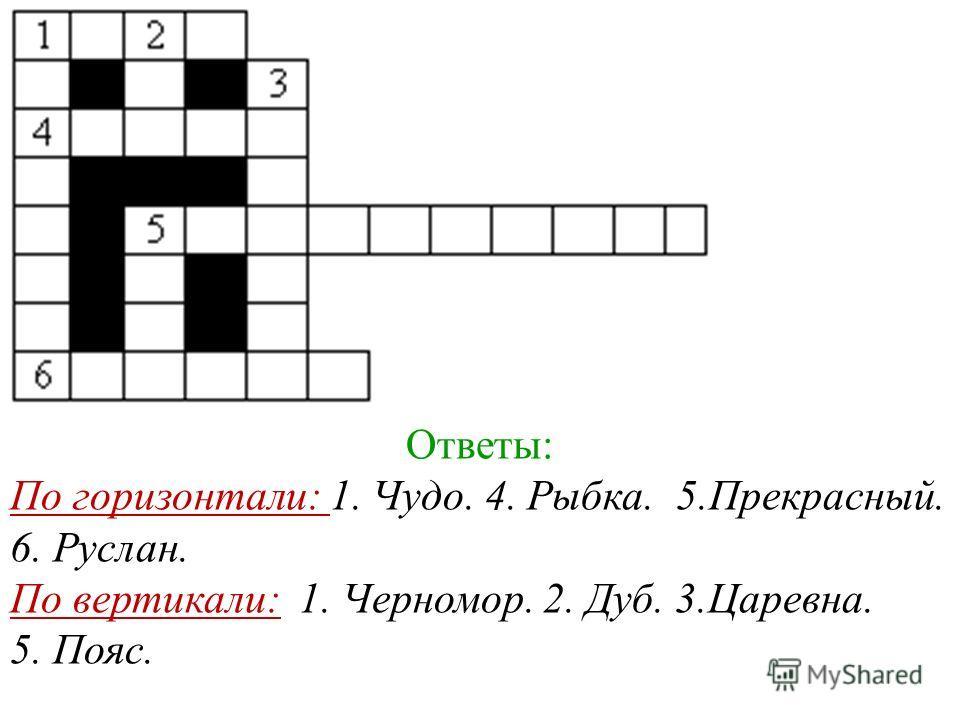 Ответы: По горизонтали: 1. Чудо. 4. Рыбка. 5.Прекрасный. 6. Руслан. По вертикали: 1. Черномор. 2. Дуб. 3.Царевна. 5. Пояс.