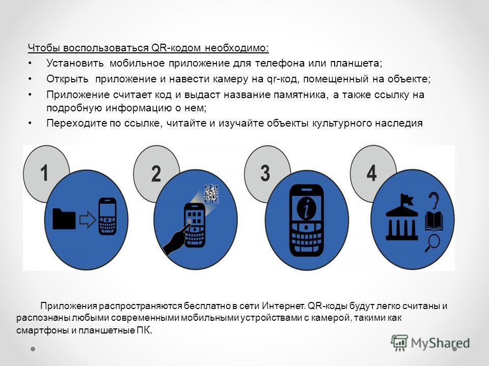 Чтобы воспользоваться QR-кодом необходимо: Установить мобильное приложение для телефона или планшета; Открыть приложение и навести камеру на qr-код, помещенный на объекте; Приложение считает код и выдаст название памятника, а также ссылку на подробну