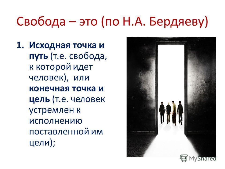 Свобода – это (по Н.А. Бердяеву) 1.Исходная точка и путь (т.е. свобода, к которой идет человек), или конечная точка и цель (т.е. человек устремлен к исполнению поставленной им цели);