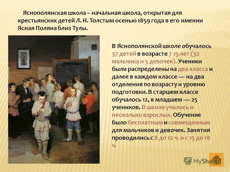 Яснополянская школа – начальная школа, открытая для крестьянских детей Л. Н. Толстым осенью 1859 года в его имении Ясная Поляна близ Тулы. В Яснополянской школе обучалось 37 детей в возрасте 7-15 лет (32 мальчика и 5 девочек). Ученики были распределе