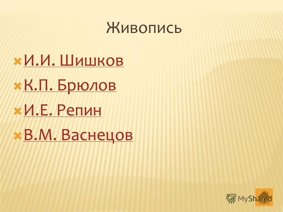 Живопись И.И. Шишков К.П. Брюлов И.Е. Репин В.М. Васнецов
