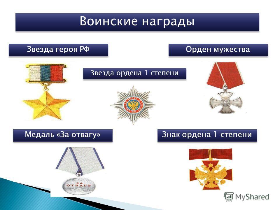 Воинские награды Звезда героя РФ Орден мужества Звезда ордена 1 степени Медаль «За отвагу» Знак ордена 1 степени