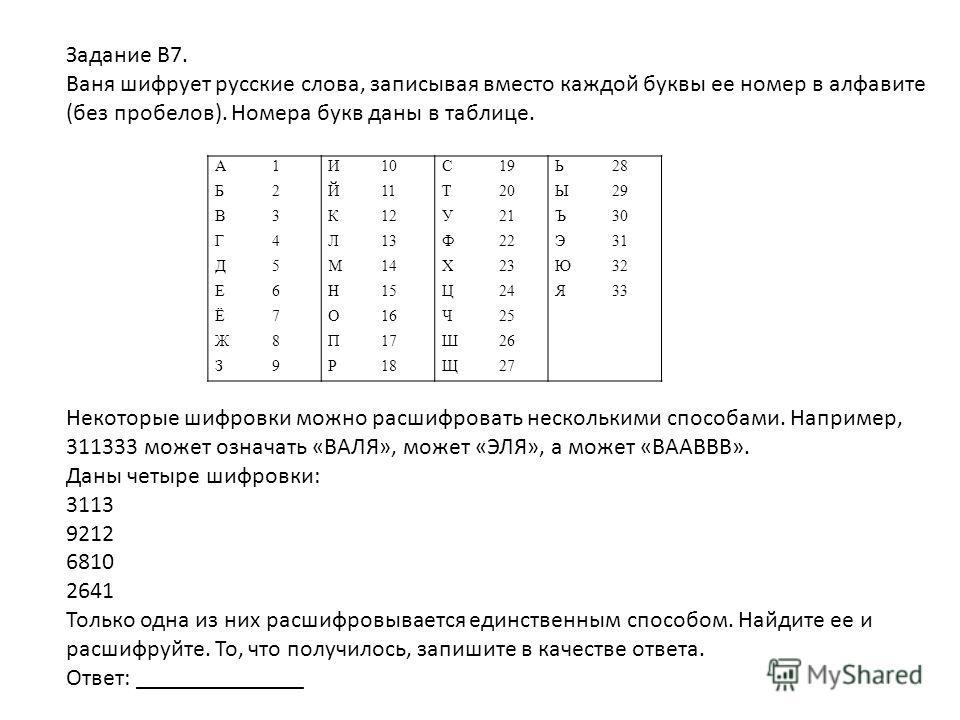 Задание В7. Ваня шифрует русские слова, записывая вместо каждой буквы ее номер в алфавите (без пробелов). Номера букв даны в таблице. Некоторые шифровки можно расшифровать несколькими способами. Например, 311333 может означать «ВАЛЯ», может «ЭЛЯ», а