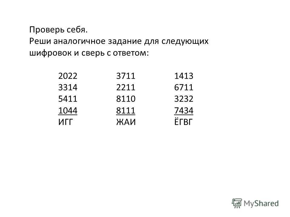 Проверь себя. Реши аналогичное задание для следующих шифровок и сверь с ответом: 202237111413 331422116711 541181103232 104481117434 ИГГЖАИЁГВГ