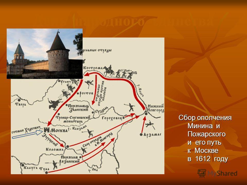 Сбор ополчения Минина и Пожарского и его путь к Москве в 1612 году