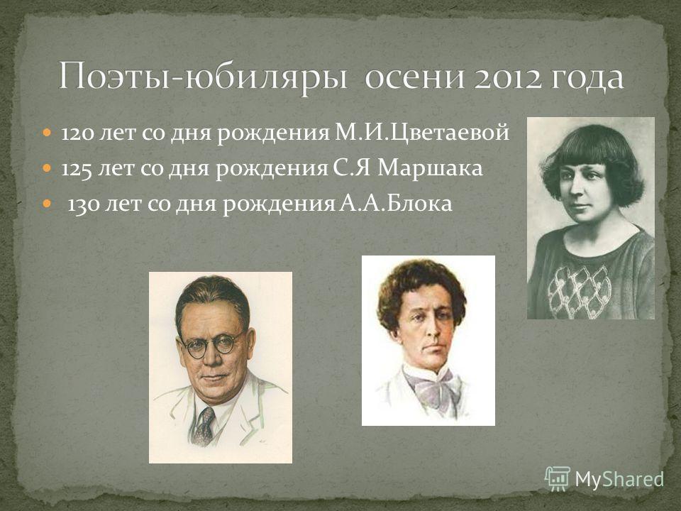 120 лет со дня рождения М.И.Цветаевой 125 лет со дня рождения С.Я Маршака 130 лет со дня рождения А.А.Блока