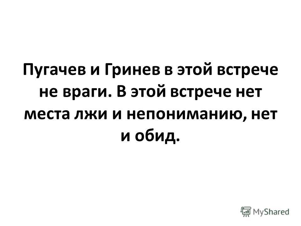 Пугачев и Гринев в этой встрече не враги. В этой встрече нет места лжи и непониманию, нет и обид.