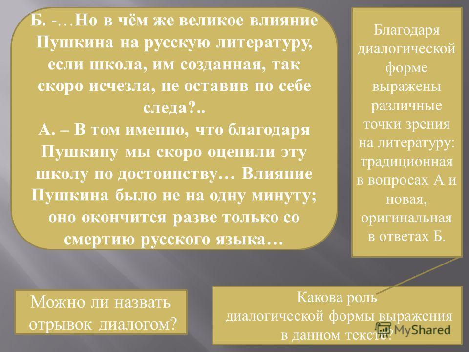 Б. -… Но в чём же великое влияние Пушкина на русскую литературу, если школа, им созданная, так скоро исчезла, не оставив по себе следа?.. А. – В том именно, что благодаря Пушкину мы скоро оценили эту школу по достоинству… Влияние Пушкина было не на о