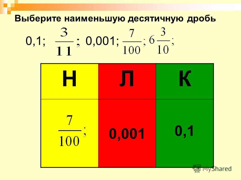 Выберите наименьшую десятичную дробь 0,1; 0,001; НЛК 0,001 0,1