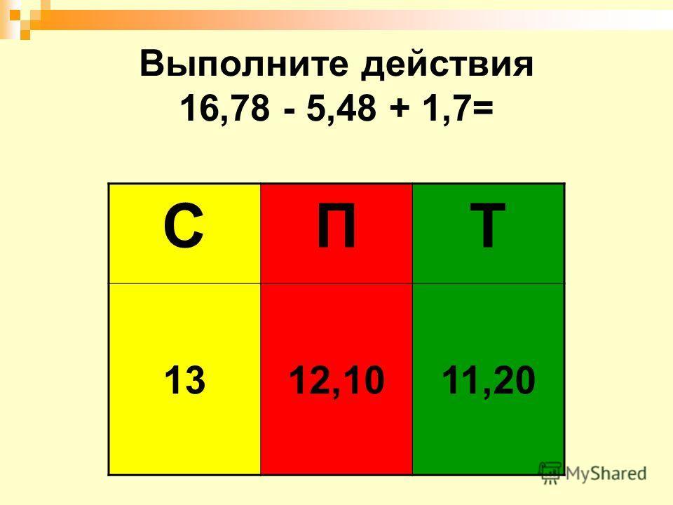 Выполните действия 16,78 - 5,48 + 1,7= СПТ 1312,1011,20