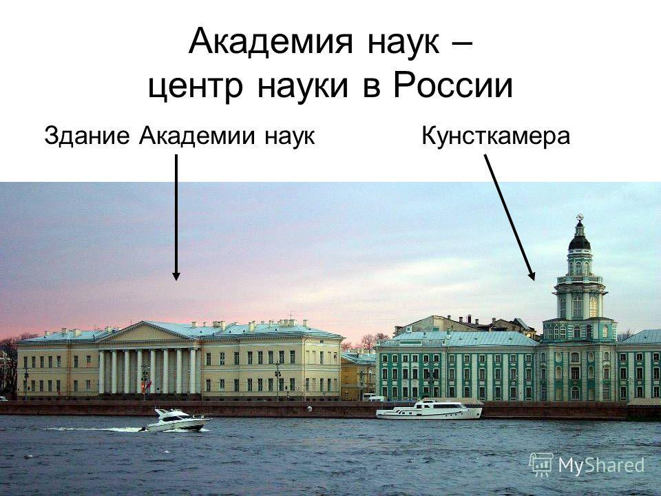 Академия наук – центр науки в России Здание Академии наук Кунсткамера