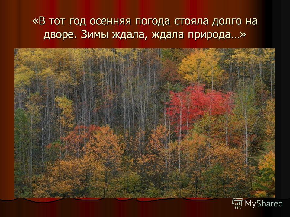 «В тот год осенняя погода стояла долго на дворе. Зимы ждала, ждала природа…»