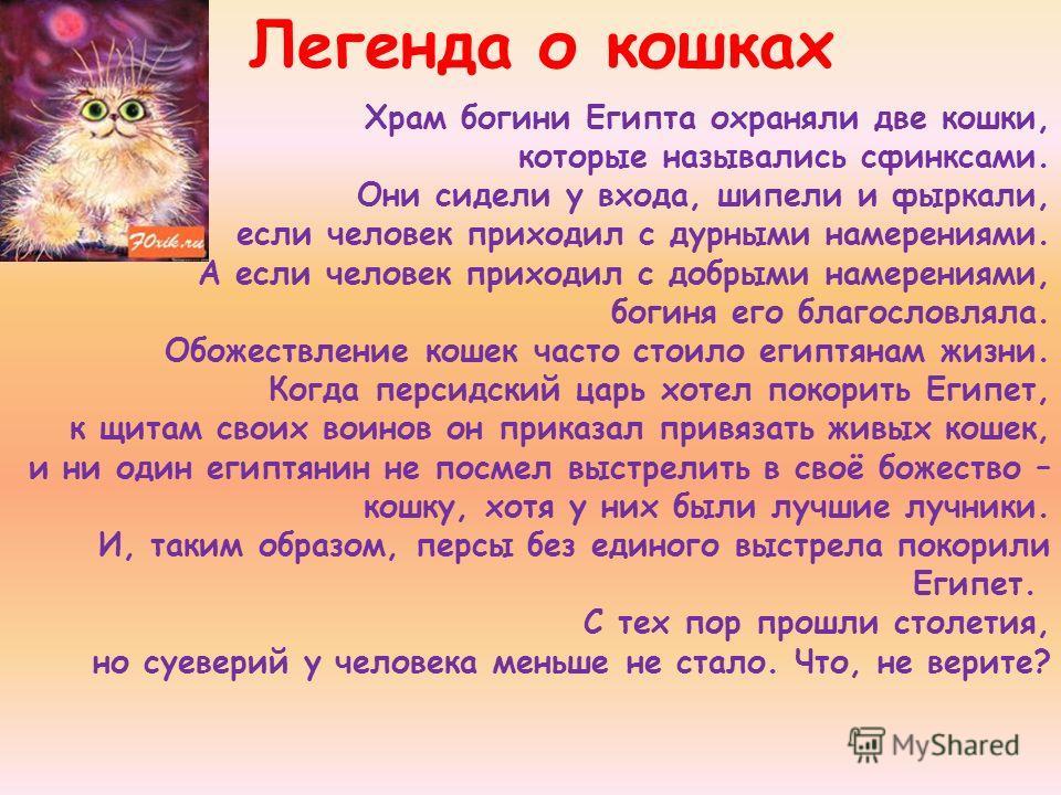 Храм богини Египта охраняли две кошки, которые назывались сфинксами. Они сидели у входа, шипели и фыркали, если человек приходил с дурными намерениями. А если человек приходил с добрыми намерениями, богиня его благословляла. Обожествление кошек часто