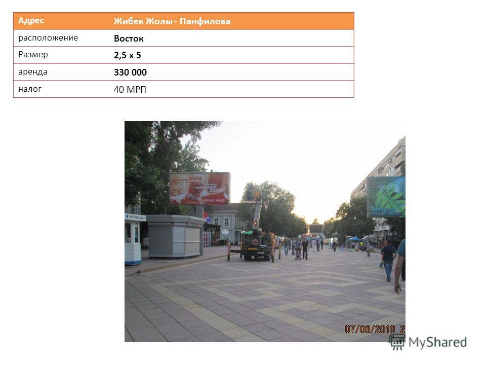 Адрес Жибек Жолы - Панфилова расположение Восток Размер 2,5 х 5 аренда 330 000 налог 40 МРП