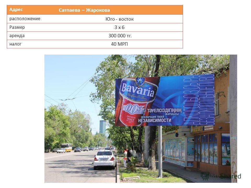Адрес Сатпаева – Жарокова расположение Юго - восток Размер 3 х 6 аренда 300 000 тг. налог 40 МРП