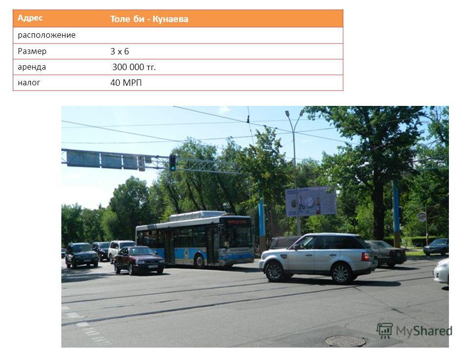Адрес Толе би - Кунаева расположение Размер 3 х 6 аренда 300 000 тг. налог 40 МРП