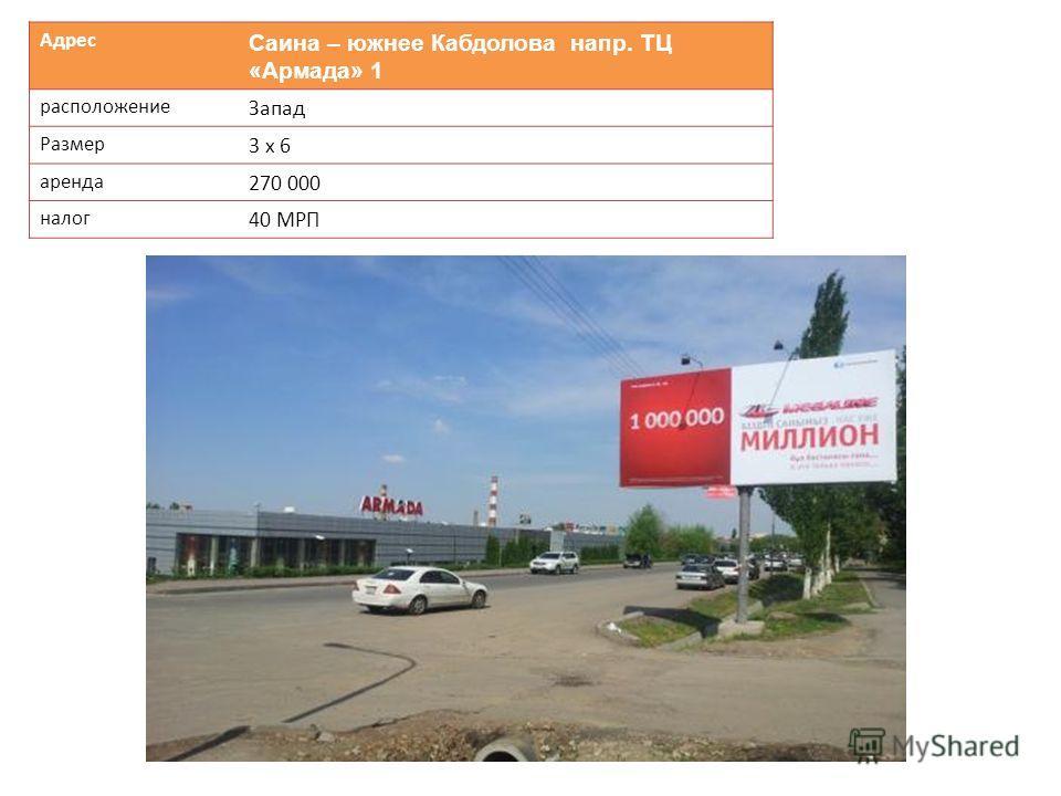 Адрес Саина – южнее Кабдолова напр. ТЦ «Армада» 1 расположение Запад Размер 3 х 6 аренда 270 000 налог 40 МРП