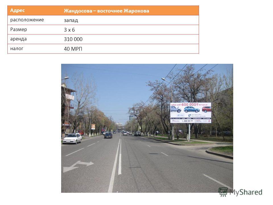 Адрес Жандосова – восточнее Жарокова расположение запад Размер 3 х 6 аренда 310 000 налог 40 МРП