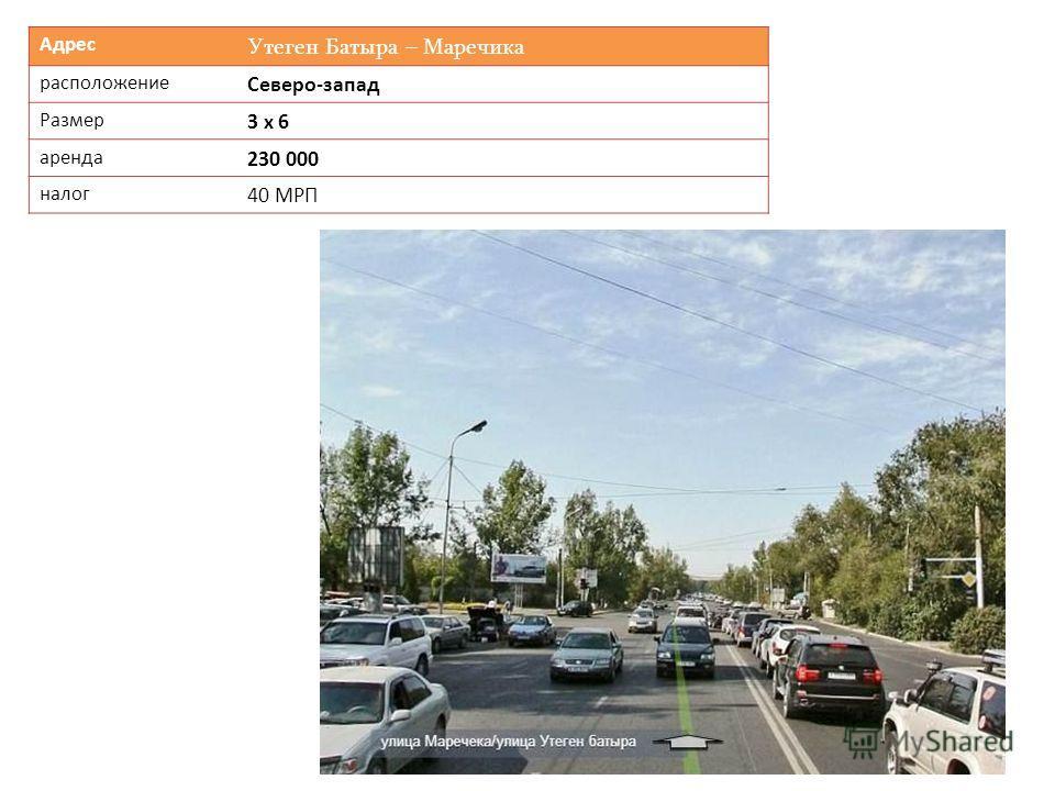 Адрес Утеген Батыра – Маречика расположение Северо-запад Размер 3 х 6 аренда 230 000 налог 40 МРП