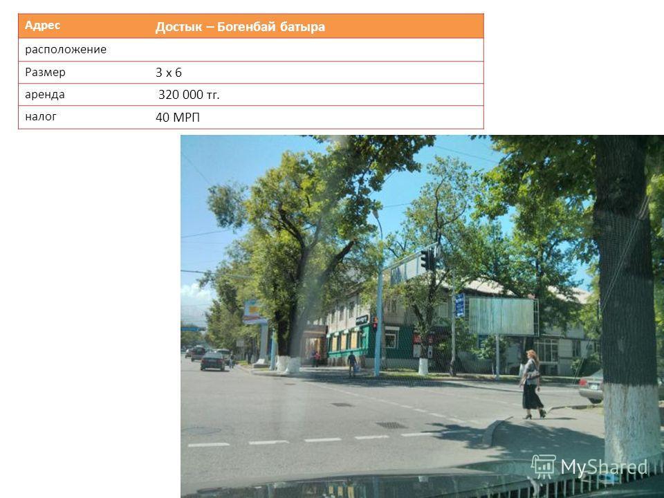 Адрес Достык – Богенбай батыра расположение Размер 3 х 6 аренда 320 000 тг. налог 40 МРП