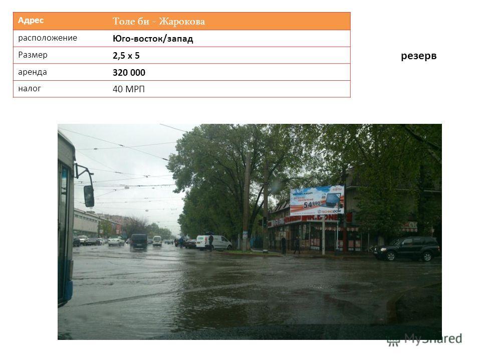 Адрес Толе би - Жарокова расположение Юго-восток/запад Размер 2,5 х 5 аренда 320 000 налог 40 МРП резерв