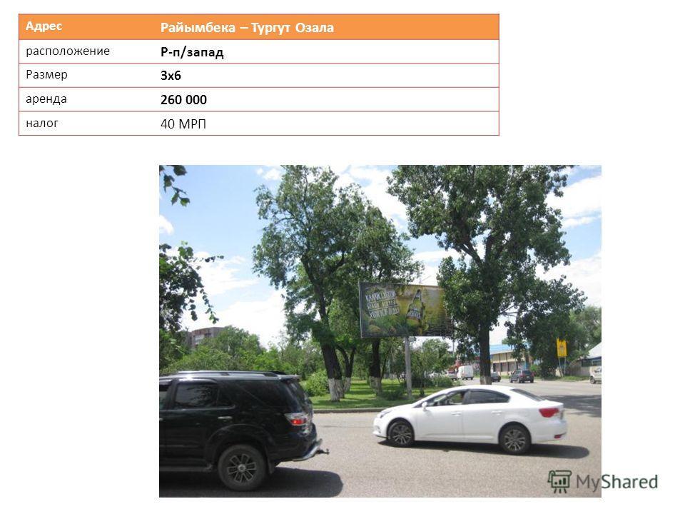 Адрес Райымбека – Тургут Озала расположение Р-п/запад Размер 3х6 аренда 260 000 налог 40 МРП
