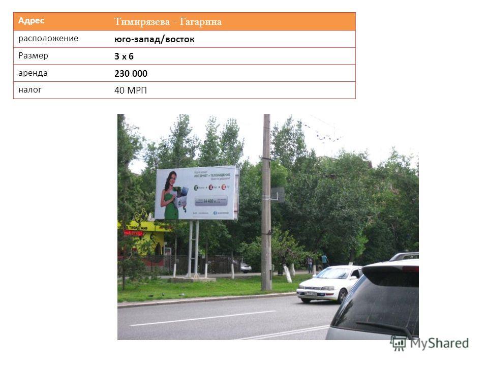 Адрес Тимирязева - Гагарина расположение юго-запад/восток Размер 3 х 6 аренда 230 000 налог 40 МРП
