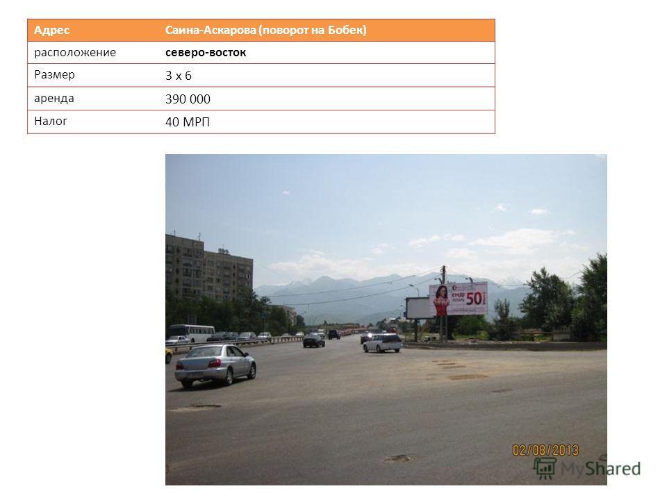 Адрес Саина-Аскарова (поворот на Бобек) расположениесеверо-восток Размер 3 х 6 аренда 390 000 Налог 40 МРП