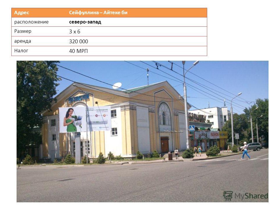 Адрес Сейфуллина – Айтеке би расположениесеверо-запад Размер 3 х 6 аренда 320 000 Налог 40 МРП