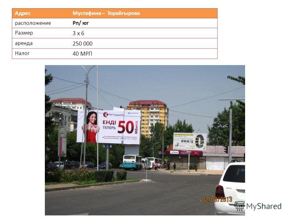 Адрес Мустафина – Торайгырова расположениеРп/ юг Размер 3 х 6 аренда 250 000 Налог 40 МРП
