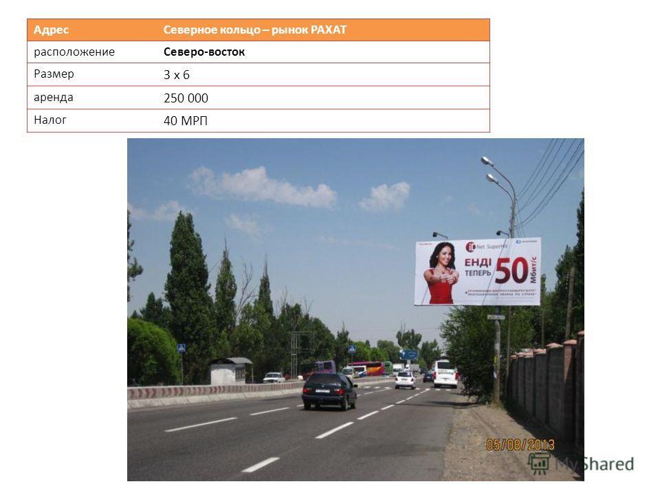 Адрес Северное кольцо – рынок РАХАТ расположениеСеверо-восток Размер 3 х 6 аренда 250 000 Налог 40 МРП