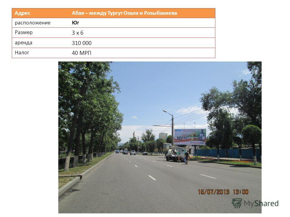 Адрес Абая – между Тургут Озала и Розыбакиева расположениеЮг Размер 3 х 6 аренда 310 000 Налог 40 МРП